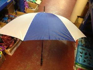 Blue & white golf umbrella